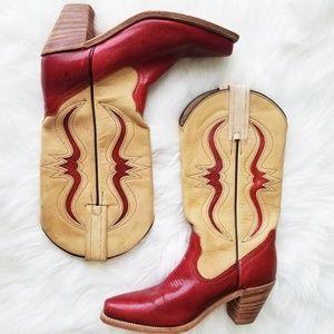 Frye | Red & Tan Vintage Snakeskin Cowboy Boots